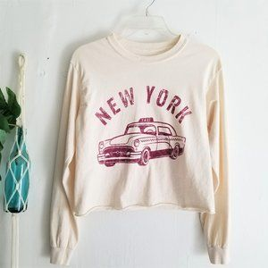 Cropped Long Sleeve New York Taxi Tee